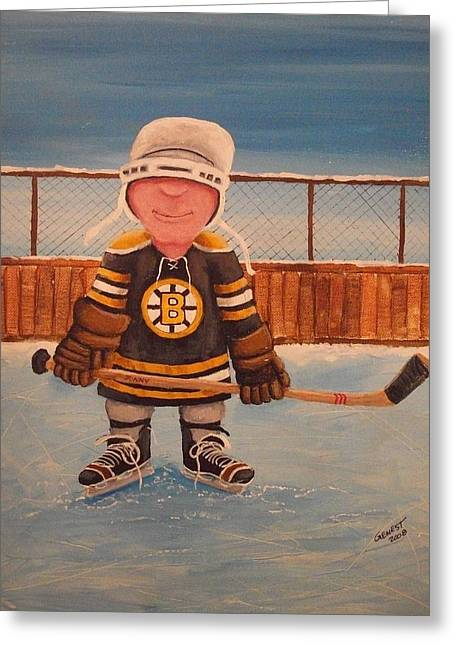 Youth Hockey Paintings Greeting Cards - RinkRattz - Jonny - Boston  Greeting Card by Ron  Genest