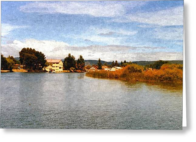 Southern Province Paintings Greeting Cards - Rio Calle-Calle Valdivia Province Greeting Card by Jenny S Baez Barrueto