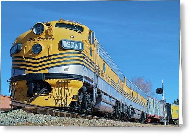 Colorado Railroad Museum Greeting Cards - Rio Grande Diesel Greeting Card by Stephen  Johnson