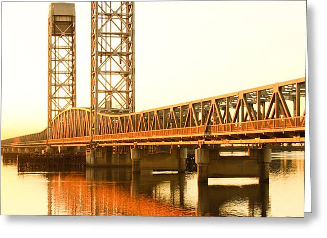 Rio Vista Bridge Sunrise Greeting Card by Troy Montemayor