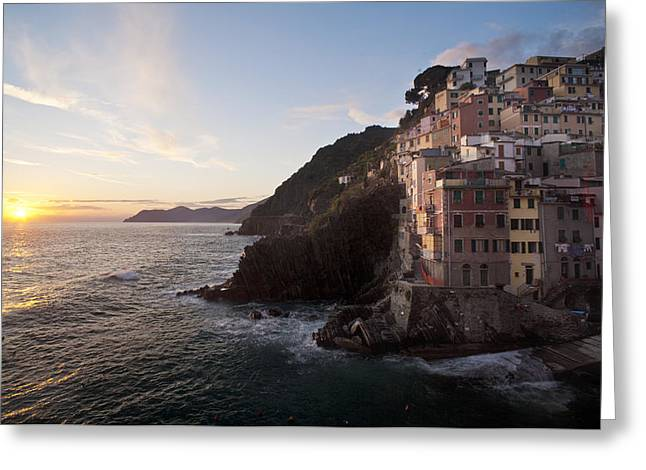 Riomaggio Sunset Greeting Card by Mike Reid