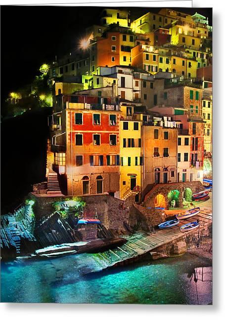 Italian Riveria Greeting Cards - Riomaggiore di Notte Greeting Card by John Galbo