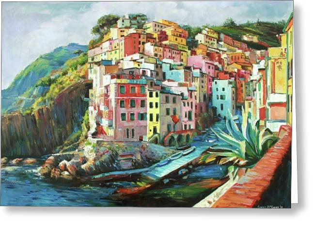 Fishing Boats Greeting Cards - Riomaggiore Italy Greeting Card by Conor McGuire