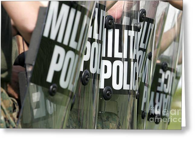 Law Enforcement Greeting Cards - Riot Control Formation Greeting Card by Stocktrek Images