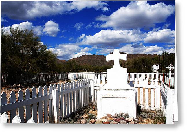 Grave Yard Greeting Cards - R.I.P. in Old Tuscon AZ Greeting Card by Susanne Van Hulst