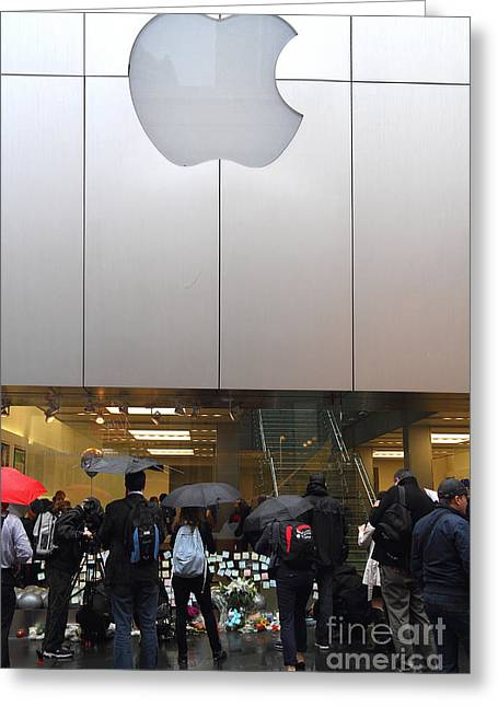 Death Of Steve Jobs Greeting Cards - RIP Steve Jobs . October 5 2011 . San Francisco Apple Store Memorial 7DIMG8567 Greeting Card by Wingsdomain Art and Photography