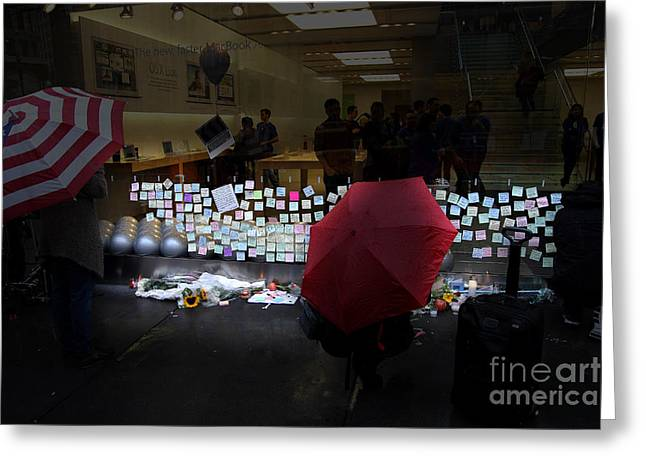 RIP Steve Jobs . October 5 2011 . San Francisco Apple Store Memorial 7DIMG8558.highlighted Greeting Card by Wingsdomain Art and Photography