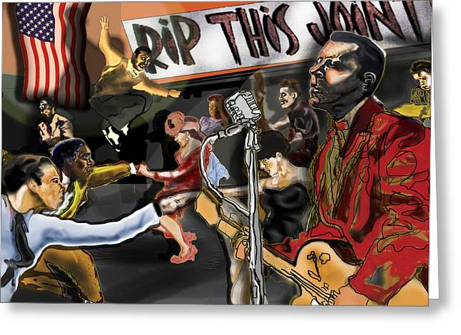 Rockabilly Digital Art Greeting Cards - Rip This Joint Greeting Card by David Fossaceca