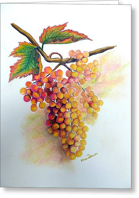 Vines Pastels Greeting Cards - Ripe Muscats Greeting Card by Karin Kelshall- Best