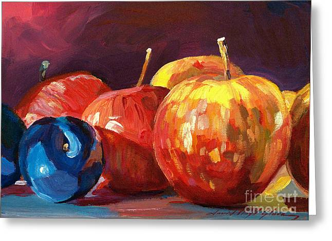Produce Greeting Cards - Ripe Plums and Apples Greeting Card by David Lloyd Glover