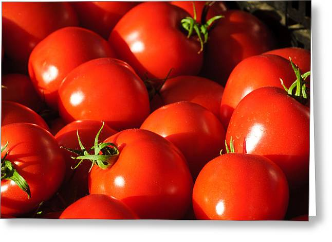 Reflection Harvest Greeting Cards - Ripe Tomatoes Greeting Card by Connie Cooper-Edwards