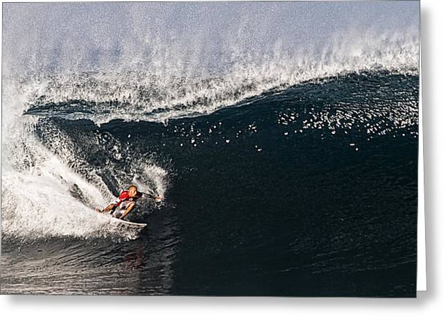 Surfing Contest Greeting Cards - Ripping through Pipe Greeting Card by Ron Regalado
