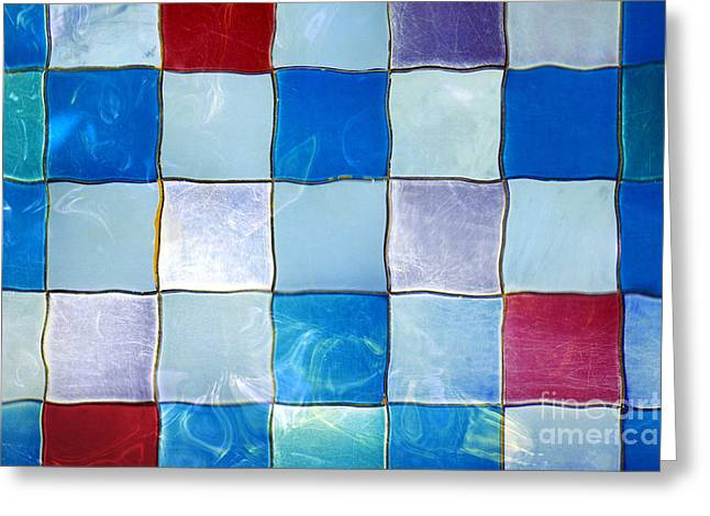 Wet Floor Greeting Cards - Ripple Tiles Greeting Card by Carlos Caetano