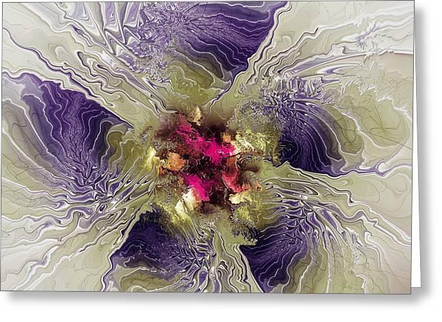 Generative Abstract Mixed Media Greeting Cards - Rippled Petals Greeting Card by Deborah Benoit