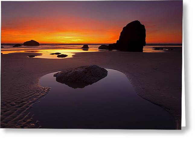 Cannon Beach Greeting Cards - Ripples and Reflections Greeting Card by Mike  Dawson