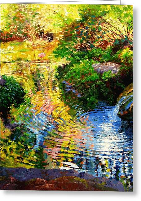 Refection Greeting Cards - Ripples on a Quiet Pond Greeting Card by John Lautermilch