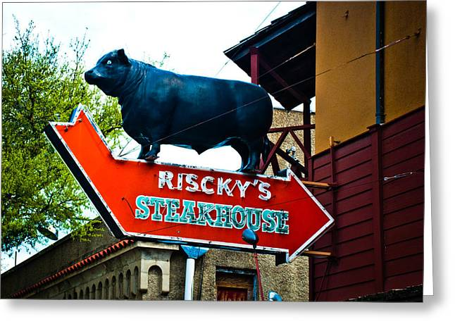 Stockyards Greeting Cards - Risckys Greeting Card by David Waldo