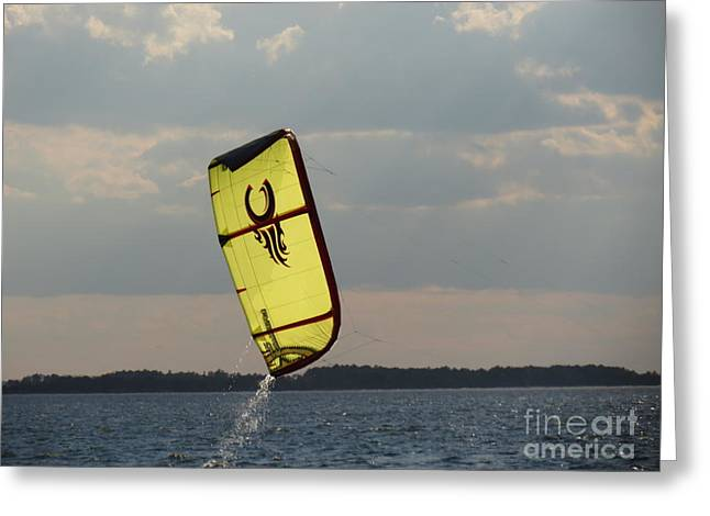 Kite Boarding Greeting Cards - Rise from the depths Greeting Card by Rrrose Pix