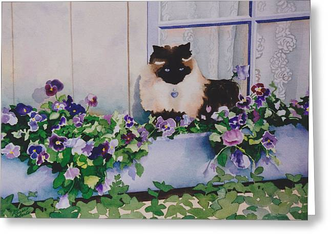 Pictures Of Cats Paintings Greeting Cards - Riser Roberts Himalayan Greeting Card by Eve Riser Roberts