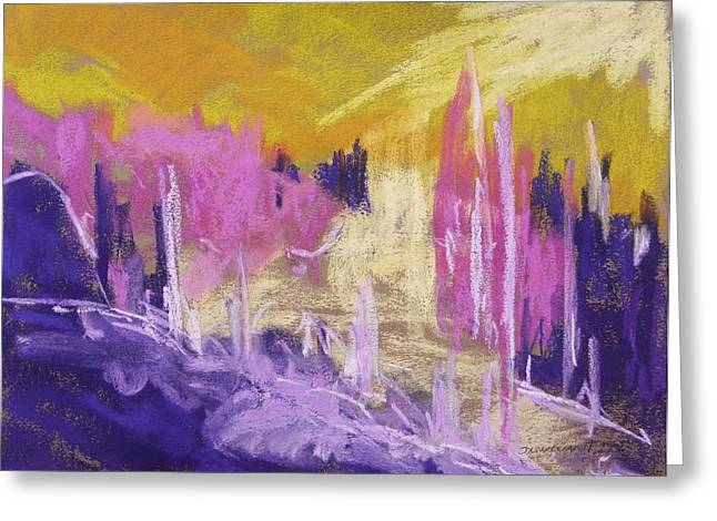 Abstract Nature Pastels Greeting Cards - Rising Against Yellow Greeting Card by John  Williams
