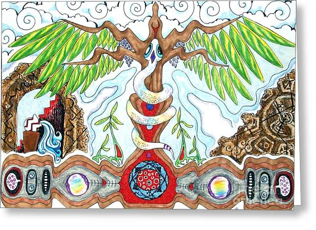 Chakra Rainbow Drawings Greeting Cards - Rising Greeting Card by FaerieBlueMoon Creations Tressure Hardcastle