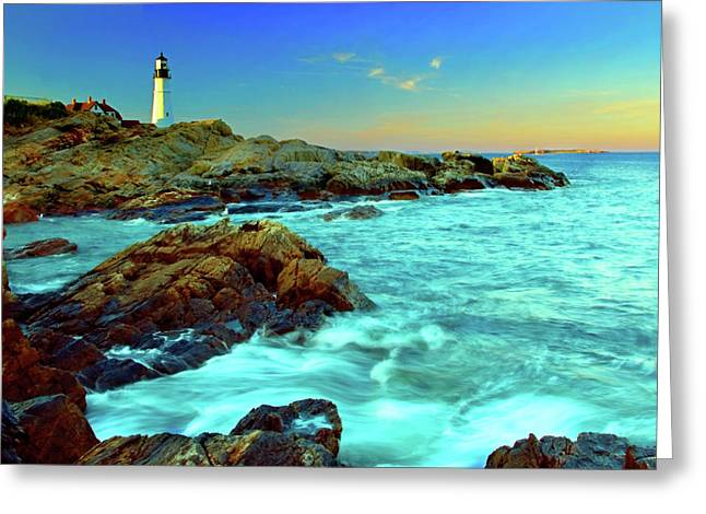 Coastal Maine Greeting Cards - Rising Tide at Portland Head Greeting Card by Rick Berk