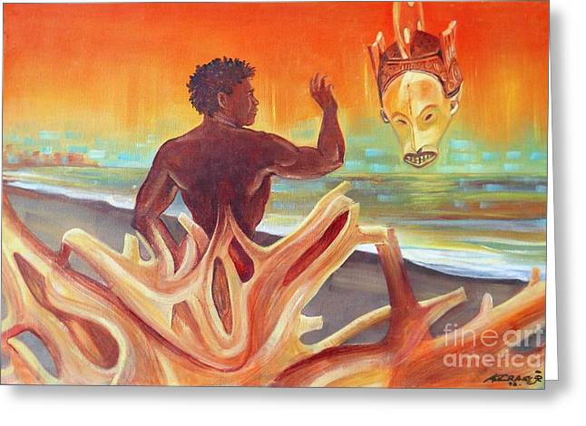 Dream Scape Greeting Cards - Rising youth seeks ancient wisdom Greeting Card by Arnold Grace