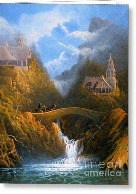 The Lord Of The Ring Greeting Cards - Rivendell The Lord Of The Rings Tolkien inspired art   Greeting Card by Joe  Gilronan