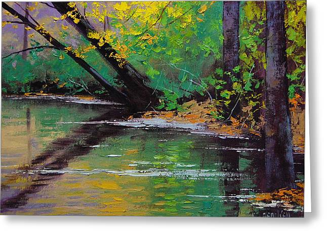 River Paintings Greeting Cards - River Bank Greeting Card by Graham Gercken