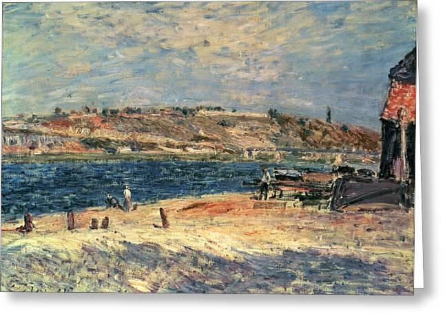 Shack Paintings Greeting Cards - River Banks at Saint-Mammes Greeting Card by Alfred Sisley