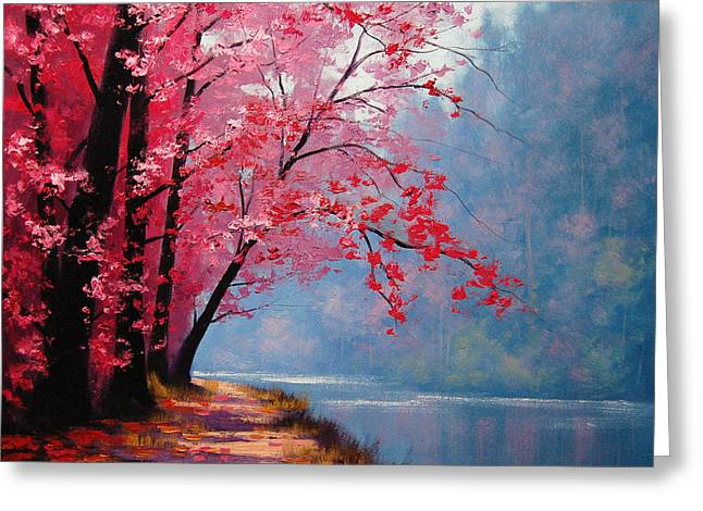 Lake Paintings Greeting Cards - River Bend Greeting Card by Graham Gercken