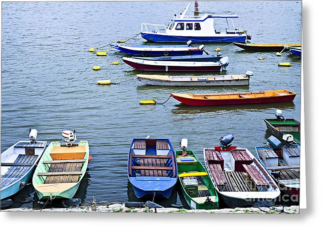 Various Greeting Cards - River boats on Danube Greeting Card by Elena Elisseeva