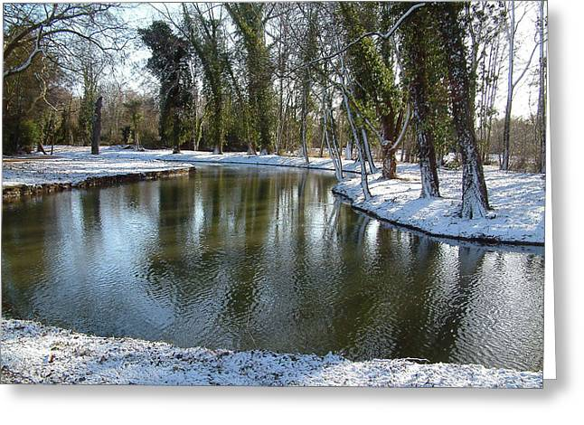 Christs Birthday Greeting Cards - River Cherwell meandering through Christ Church meadows Oxford UK. Greeting Card by Mike Lester