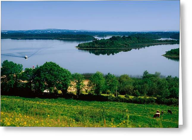 River Cruising, Upper Lough Erne Greeting Card by The Irish Image Collection