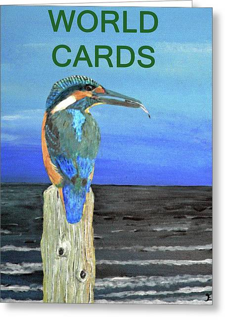 Europe Mixed Media Greeting Cards - River Fishing Greeting Card by Eric Kempson