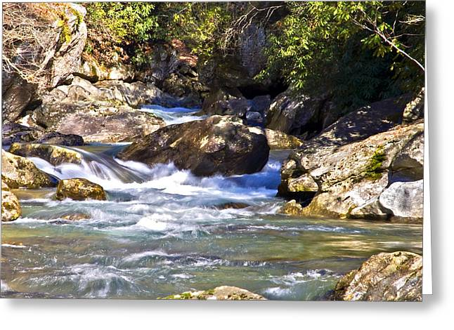 Susan Leggett Greeting Cards - River Flowing Through Large Rocks Greeting Card by Susan Leggett