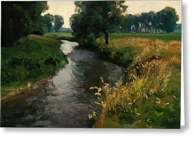 Limburg Paintings Greeting Cards - River Geul Greeting Card by Nop Briex