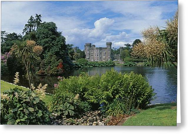 Garden Statuary Greeting Cards - River In Front Of A Castle, Johnstown Greeting Card by The Irish Image Collection