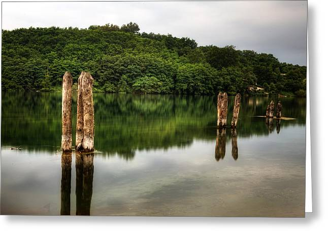 Wooden Stake Greeting Cards - River Greeting Card by Joana Kruse