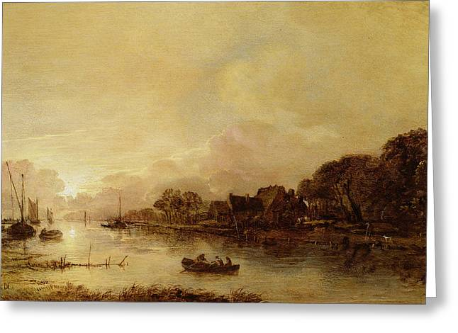 Riverscapes Greeting Cards - River landscape  Greeting Card by Aert van der Neer