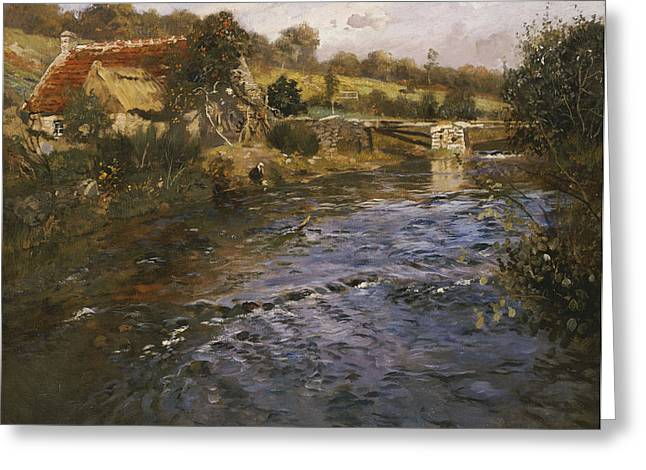 Stone Bridge Greeting Cards - River Landscape with a Washerwoman  Greeting Card by Fritz Thaulow