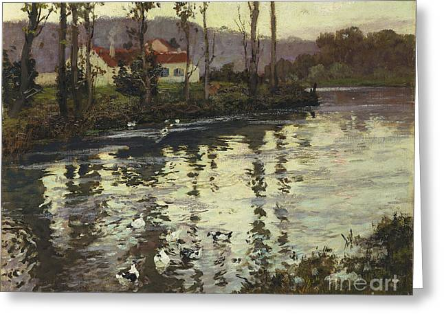 River Paintings Greeting Cards - River Landscape with Ducks  Greeting Card by Fritz Thaulow