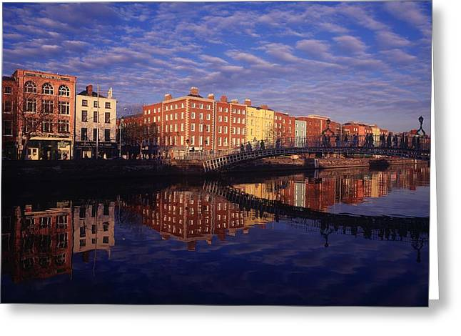 Window Of Life Greeting Cards - River Liffey And Halfpenny, Bridge Greeting Card by The Irish Image Collection