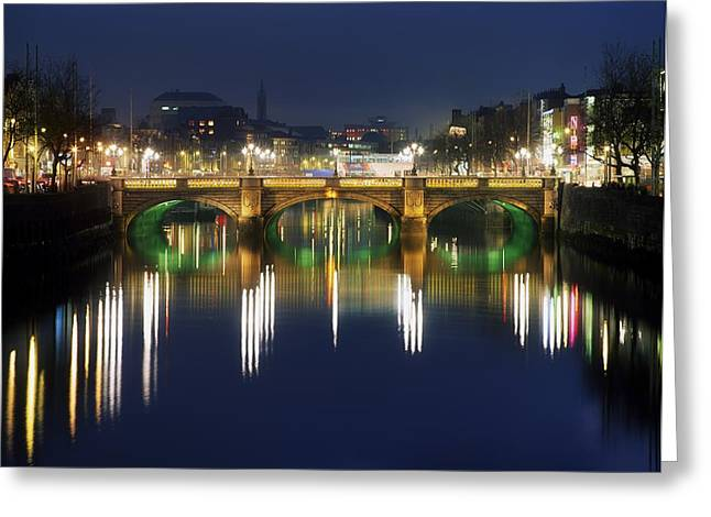 Carlisle Greeting Cards - River Liffey At Night, Oconnell Street Greeting Card by The Irish Image Collection