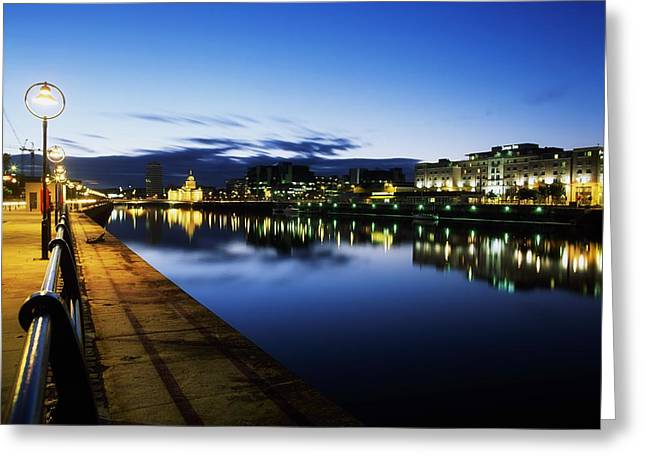 River Liffey, Sunset, View Of Customs Greeting Card by The Irish Image Collection