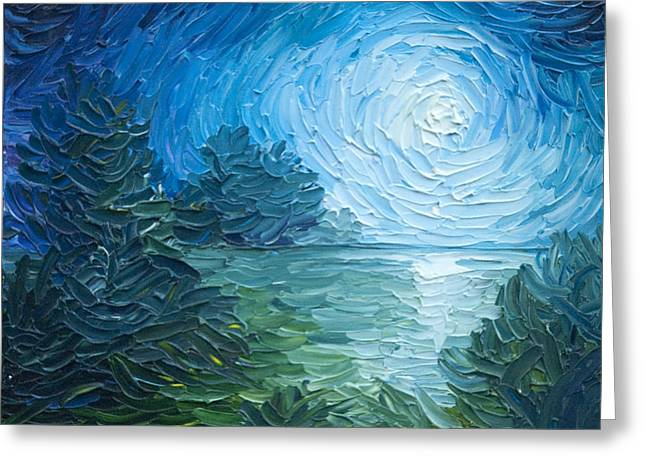 James Christopher Hill Greeting Cards - River Moon Greeting Card by James Christopher Hill
