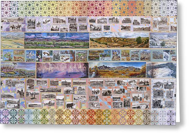 Traditional Quilts Greeting Cards - River Mural Complete Greeting Card by Dawn Senior-Trask