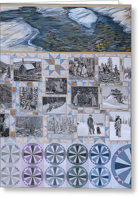 Traditional Quilts Greeting Cards - River Mural Winter Panel bottom half Greeting Card by Dawn Senior-Trask
