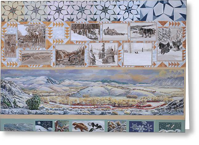 Magpies. Snow Greeting Cards - River Mural Winter Panel top half Greeting Card by Dawn Senior-Trask