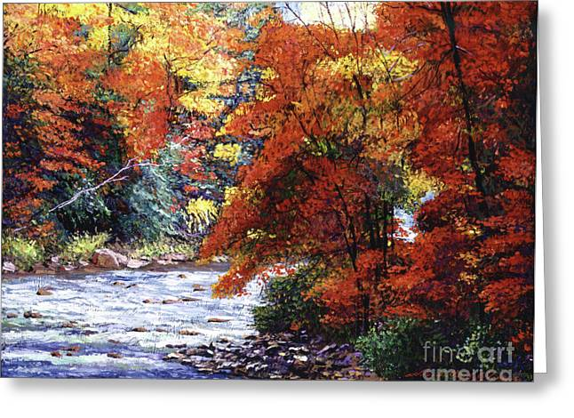 Autumn Landscape Paintings Greeting Cards - River of Colors Greeting Card by David Lloyd Glover